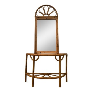 Vintage Rattan Console and Mirror