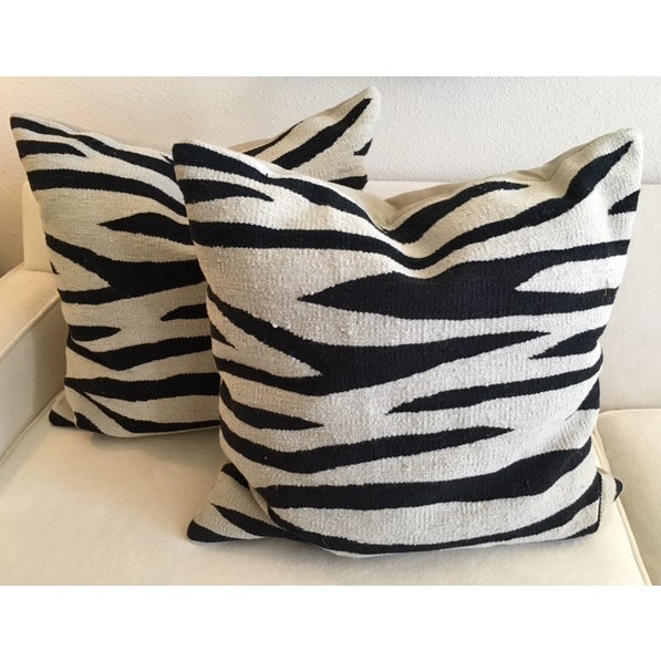Image of Black & Tan Zebra Stripe Rug Pillows - Pair