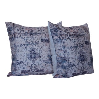 "Vintage Turkish Blue Print Pillow Covers - 16"" x 16 - A Pair"
