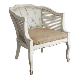 Vintage Shabby Chic Caned Frame & Burlap Seat Chair