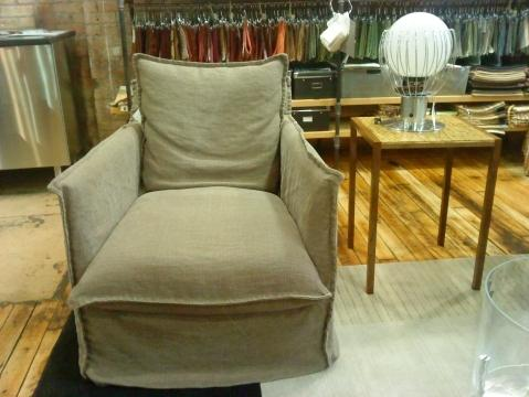 Lee Industries Green Linen Swivel Chair   Image 3 Of 4