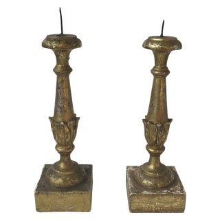 Antique Italian Silver Gilt Pricket Sticks - A Pair