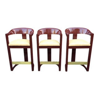 Mid Century Modern Karl Springer Red Lacquer Onassis Bar Stools - Set of 3