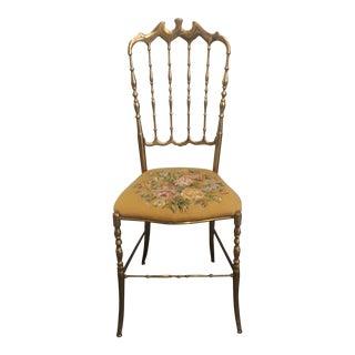 Italian Brass Needlepoint Seat Chiavari Chair