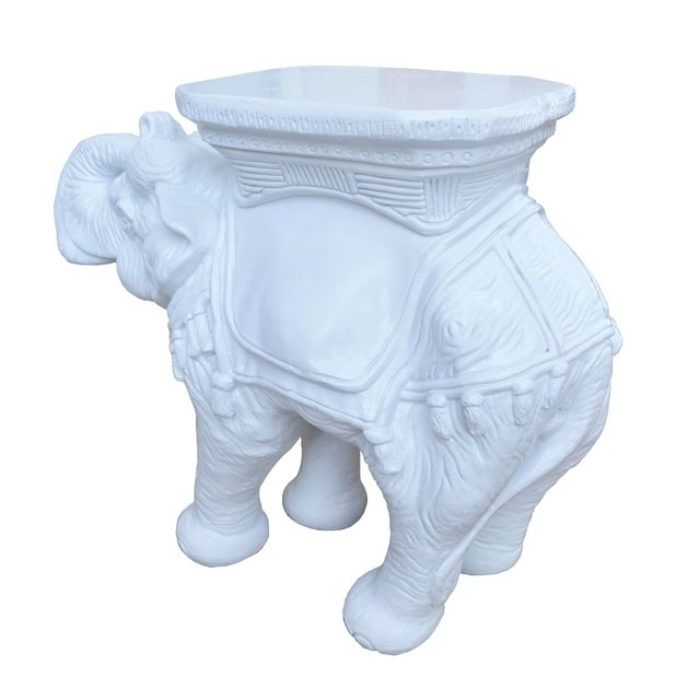 Image of Vintage White Elephant Stools With Tassels - A Pair