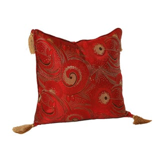 Red Retro Silk Brocade 16x16 Pillow