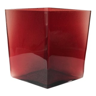 Iittala Ruutu Finnish Cranberry Red Vase