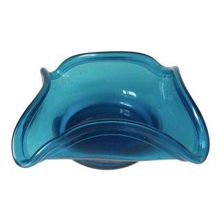 Vintage Handblown Turquoise Glass Dish