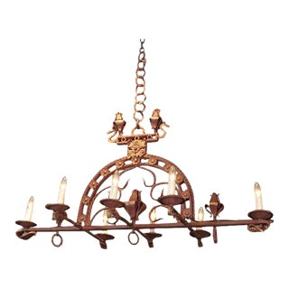 French Gilt Wrought Iron Chandelier