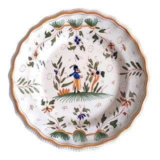 French Faience Moustier-style Plate, 19th-century.