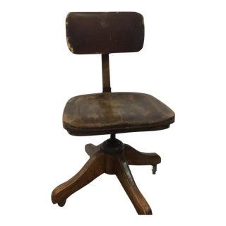 Antique Wooden Banker's Desk Chair
