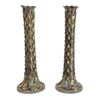 Brutalist Stalagmite Forged Brass Candle Holders - A Pair