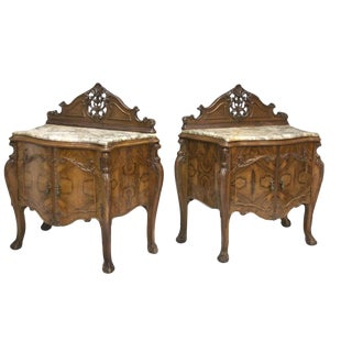 Spanish Marbletop Side Tables - A Pair