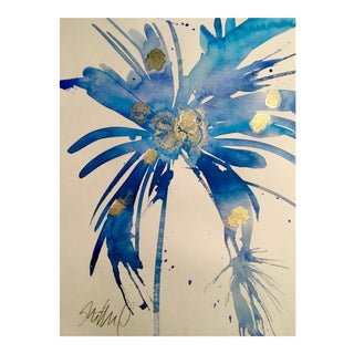 Blue Watercolor & Gold Ink Painting