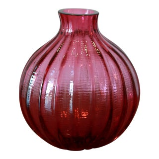 Red Channeled Glass Bud Vase