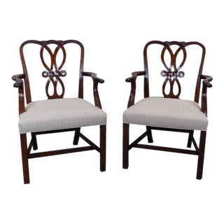 Pair Baker Furniture Chippendale Style Mahogany Dining Room Armchairs