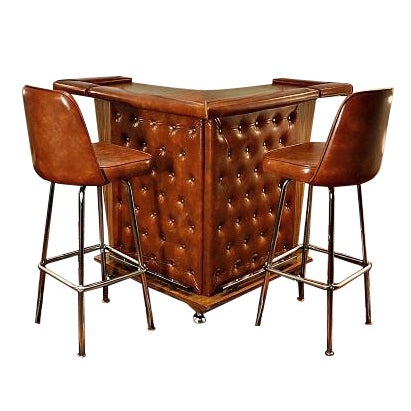Mid-Century Home Cocktail Bar & Two Stools - Image 1 of 9