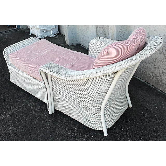 White Wicker Chaise Lounge Chair - Image 4 of 5