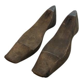 Antique Wooden Shoe Molds - A Pair