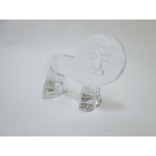 Kosta Boda Vintage Modernist Glass Lion - Image 3 of 9