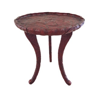 Antique Round Cinnabar Side Table