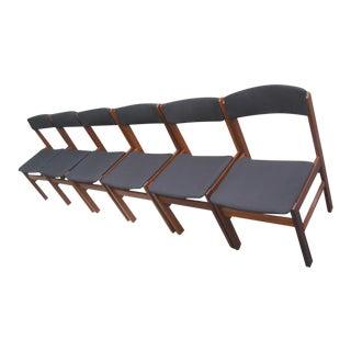 Mid Century Modern Danish Rosewood Teak Dining Chairs - Set of 6