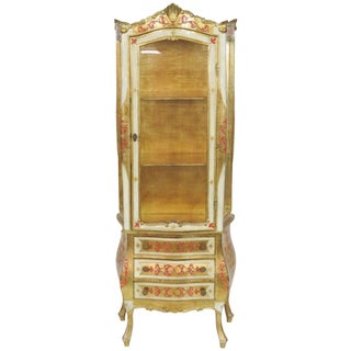 Vintage Florentine Paint Decorated Vitrine