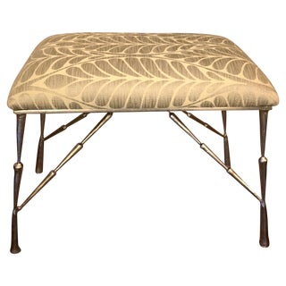 Nickel Bamboo Stool With Custom Upholstery