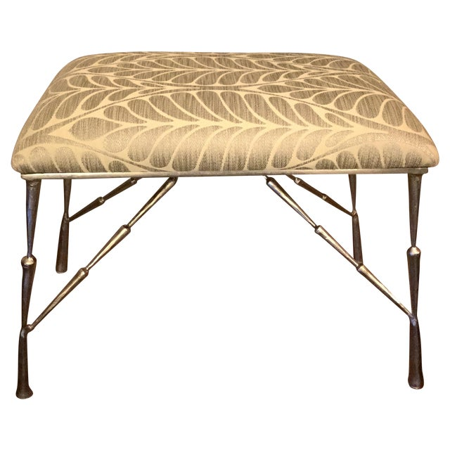 Nickel Bamboo Stool With Custom Upholstery - Image 1 of 6