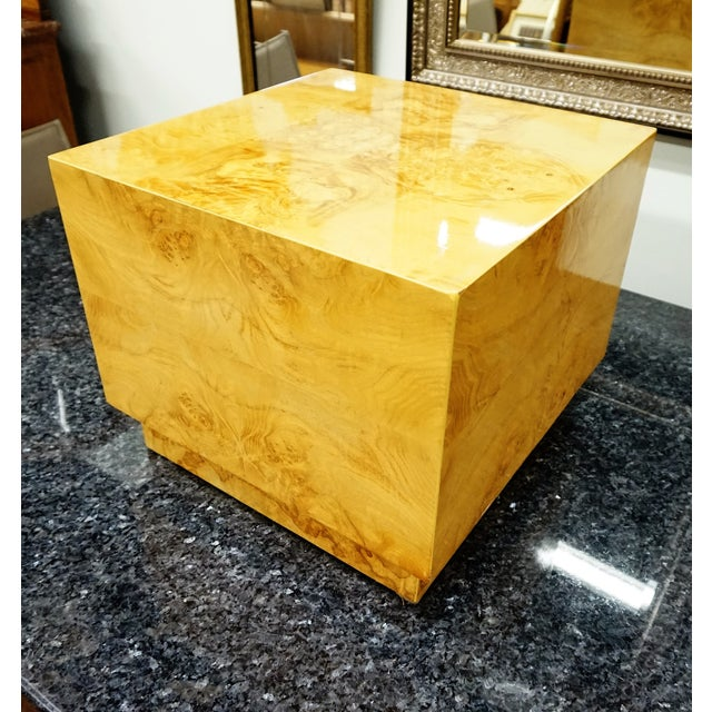 Milo Baughman Era Burled Cube Table - Image 5 of 7