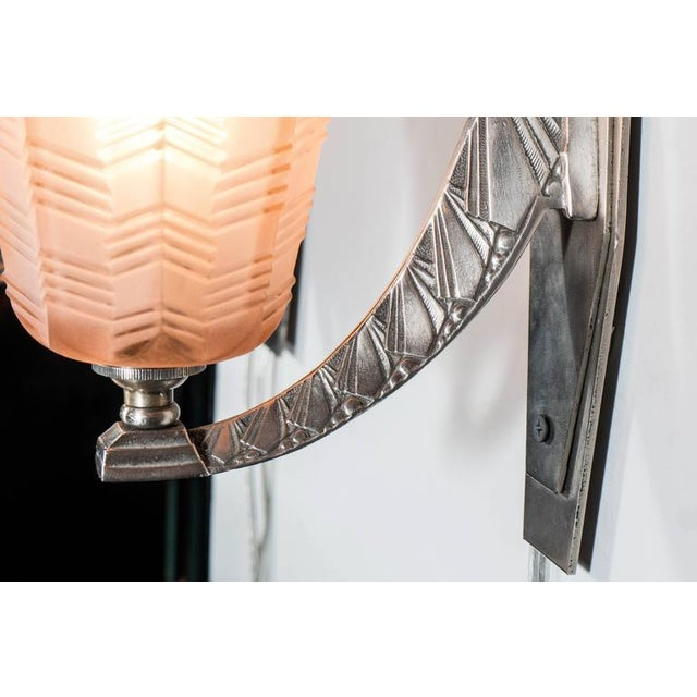 Pair of Art Deco/Skyscraper Style Nickel and Frosted Rose Glass Sconces - Image 6 of 8