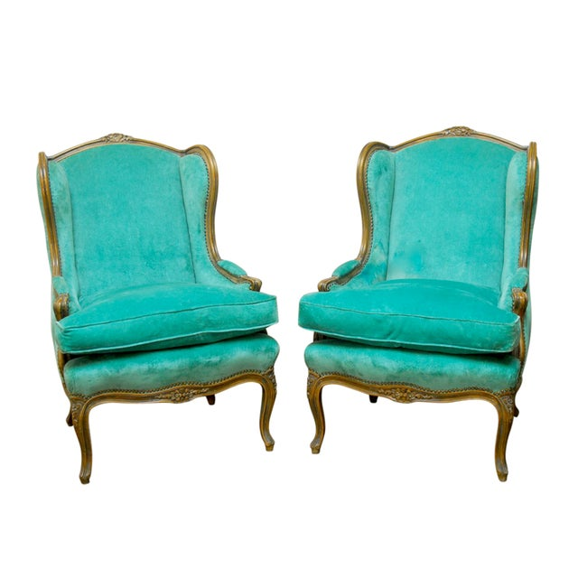 Louis XV Turquoise Velvet Wingback Chairs - Image 1 of 7