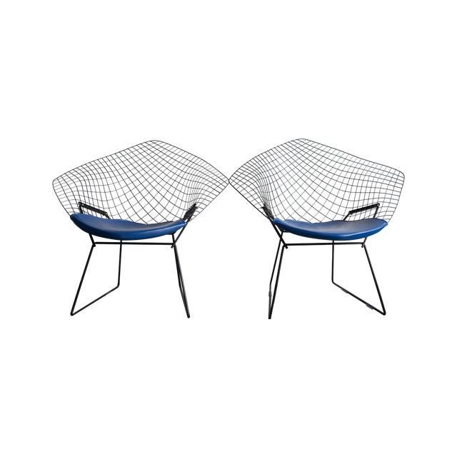 Knoll Bertoia Black Diamond Chairs- Pair - Image 1 of 7