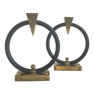 Art Deco Brass Arrow Ring Candle Holders - A Pair