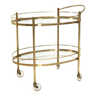 Mid Century Solid Brass Handled Rolling Bar Cart
