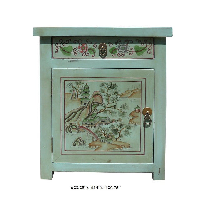 Oriental Pastel Blue Kid Scenery Side Table - Image 5 of 5