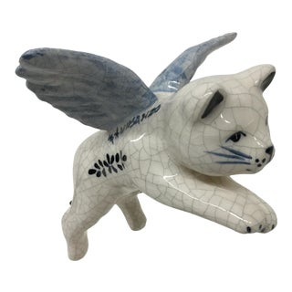 Hand Painted Artisan Ceramic Flying Cat Ornament