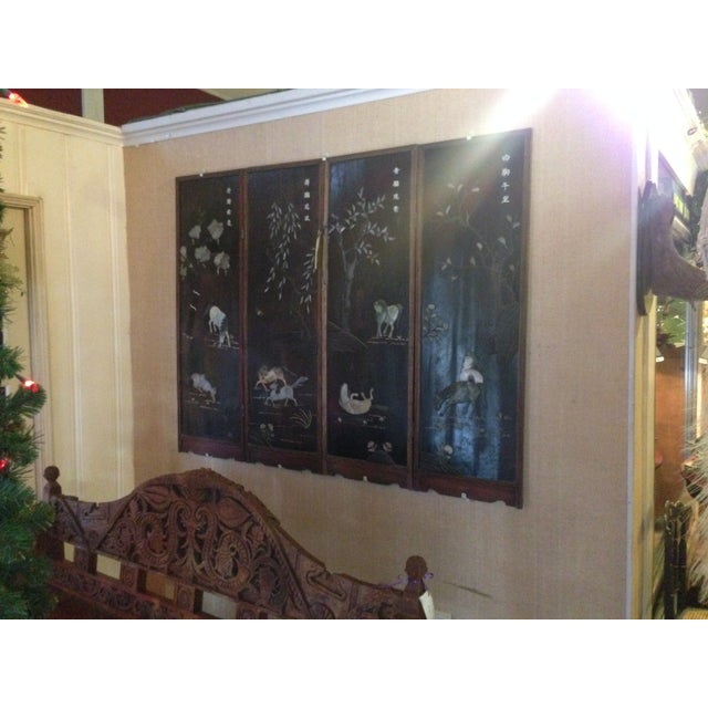 Old Asian Three Panel Screen With Jade and Ivory - Image 2 of 7