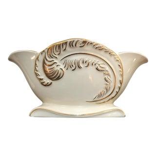 Cream & Gold Mid-Century Ceramic Vase
