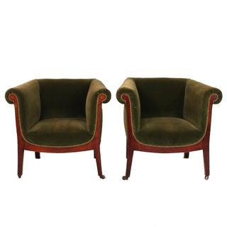 Italian 1930s Petite Velvet Armchairs- A Pair