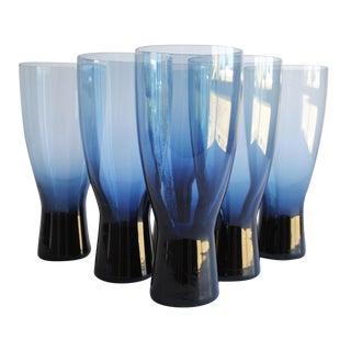 Vintage Dark Blue Glasses, Set of 6