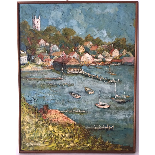 Martha's Vineyard Edgartown Harbor 1930 Oil - Image 2 of 6