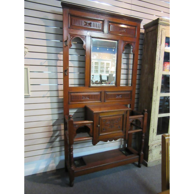 David Dangerous Entrance Hall Victorian House: Antique Victorian 1800s Walnut Hall Mirror Stand