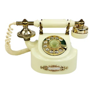 Vintage French Style Cream & Gold Rotary Dial Desk Telephone