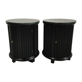 Black Barrel Side Tables With Faux Slate Top- Pair