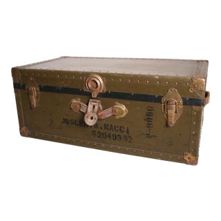Vintage Industrial Green Military Foot Locker with Tray