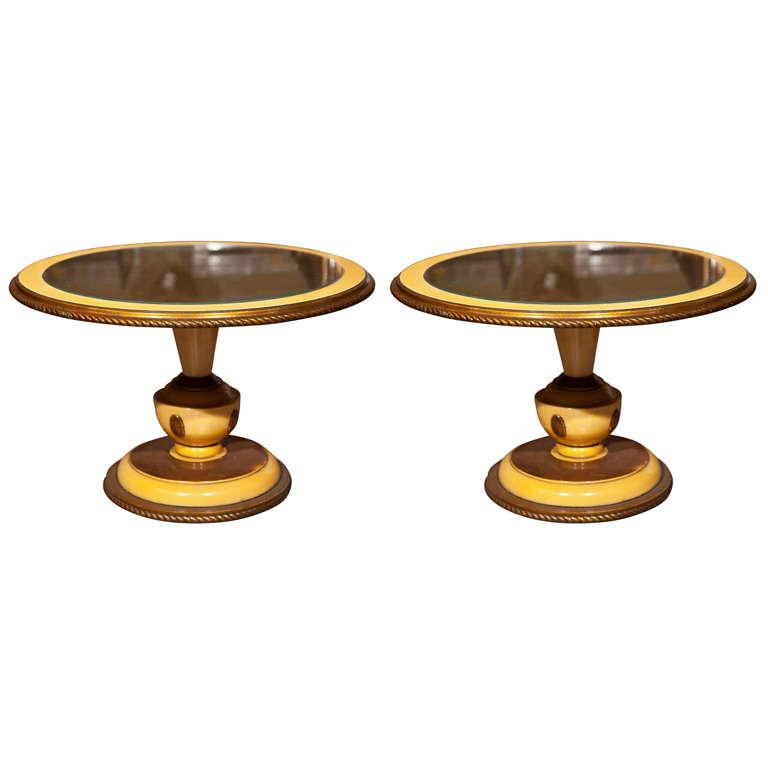Circular Side Tables With Yellow Accents   A Pair   Image 1 Of 8