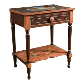 Antique Hand-Painted Fruit Motif Bedside Table, Painted by American Folk Artist Lew Hudnall