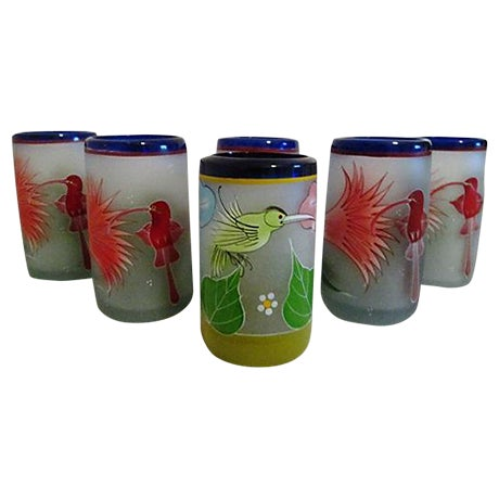Mexican Frosted Hummingbird Glasses - S/6 - Image 1 of 6