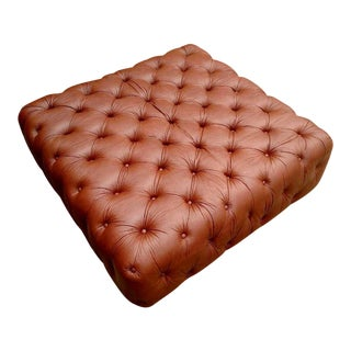 Gambrell Renard Saddle Brown Leather Tufted Ottoman